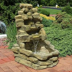 Electric Outdoor Stone Falls Garden Patio Water Fountain Fea