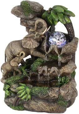 Elephant Table Fountain Landscape Water Fountain LED Light G
