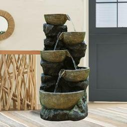 "Faux Stone Cascading Water Fountain 31 7/10"" Garden Waterfal"