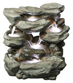 Alpine Fiberglass Rainforest Waterfall Fountain