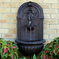 Sunnydaze Florence Outdoor Wall Fountain, Iron Finish, 27 In
