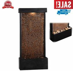 Forged Water Wall Table Fountain with LED Light Indoor Outdo