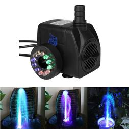Fountain Water Pump with 12 Colorful LED Light for Fish Tank