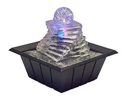 "OK Lighting FT-1219 8"" H Table Fountain with Light"