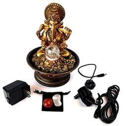Ganesha Water Fountain Bundle with Colored Light, Rolling Ba