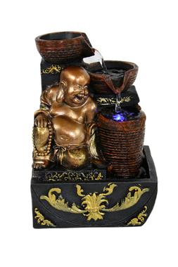 Gold Buddha Indoor Tabletop Water Fountain w/Color Changing