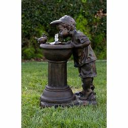 Golden Boy Drinking Water Out of Fountain with LED Light