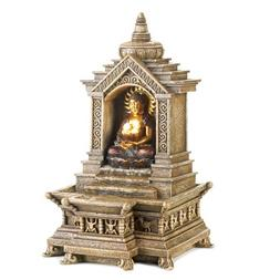 Smart Living Golden Buddha Temple Faux Stone Tabletop Water