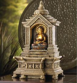 Golden Buddha Temple Tabletop Water Fountains Indoor Modern