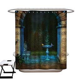 haommhome Gothic Polyester Fabric Shower Curtain Liner Fores
