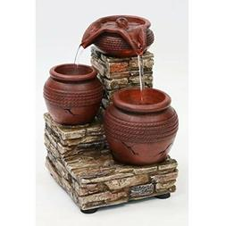 "Newport Coast Collections 7"" H Brick & Urns LED Water Founta"