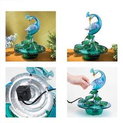 Bits And Pieces - Indoor/Outdoor Glass Peacock Fountain Whis