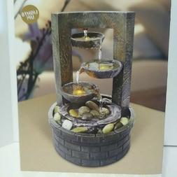 Indoor Tabletop Fountain Decoration With LED Lights 3-Tier 5
