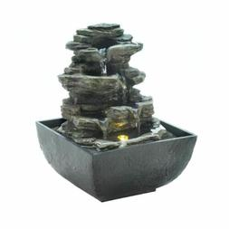 Indoor Tabletop Water Fountain Tiered Rock Formation w/ LED