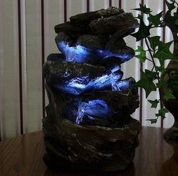 Indoor Water Fountain LED Light Tabletop Waterfall Zen Decor