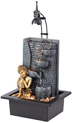 """Kneeling Buddha 17""""H Gold Indoor/Outdoor LED Table Fountain"""