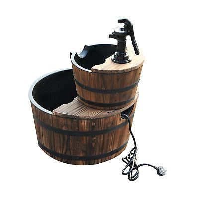Wood Water Fountain w/Pump Outdoor