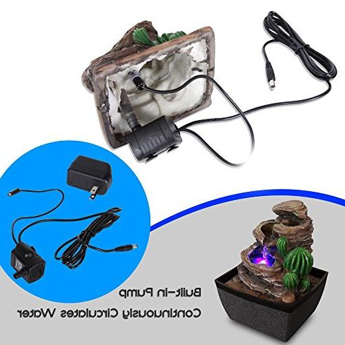 Water Fountain w/ LED Portable Tabletop Zen Power Adapter