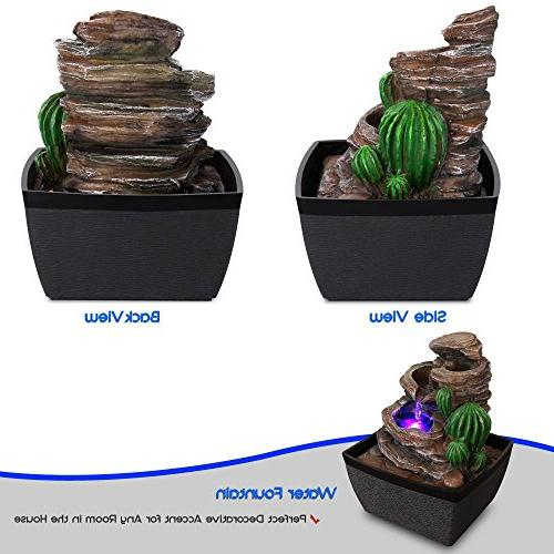 SereneLife 3-Tier Water Decor LED Outdoor Portable Decorative Meditation Kit Submersible 12V Power Adapter