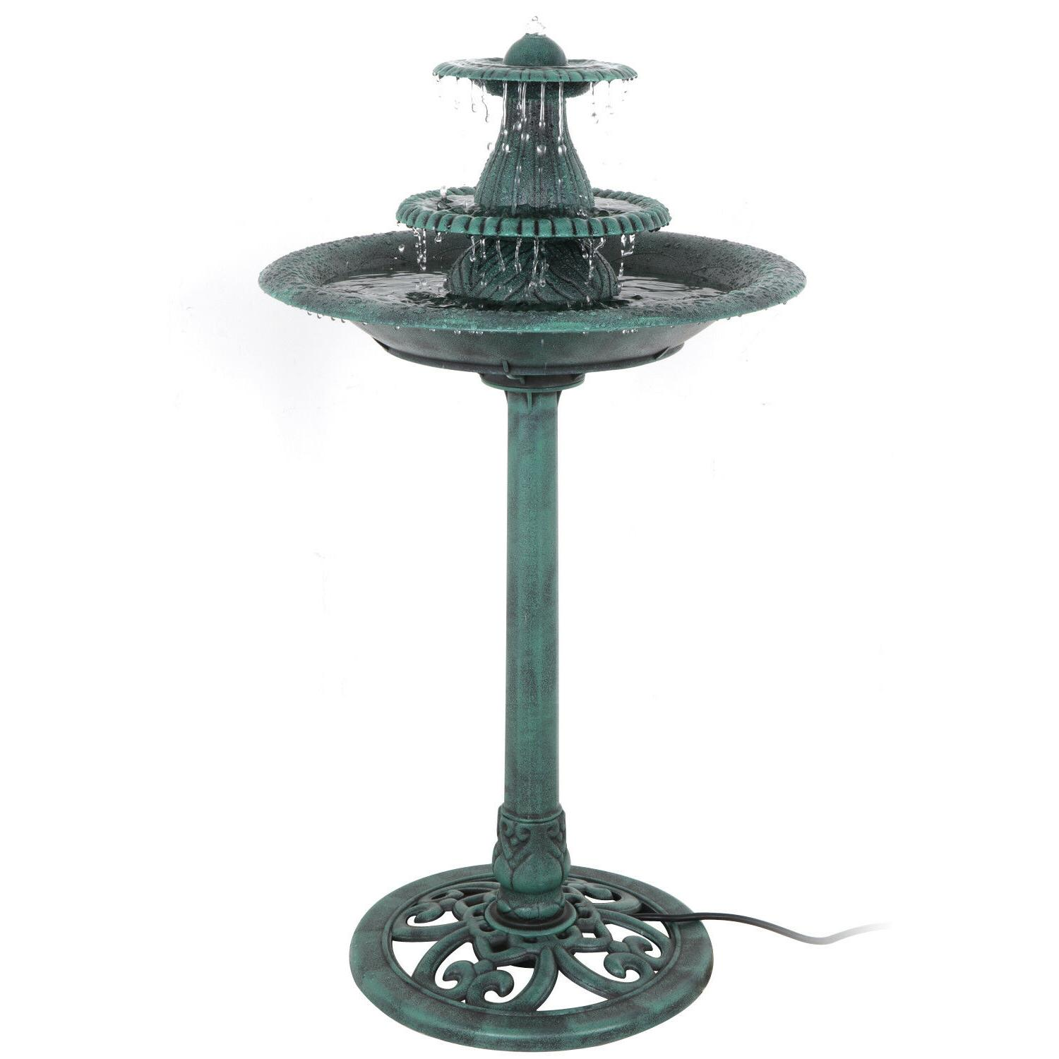 Antique 3 Tier  Fountain Bird Bath With Pump Water  Ornament