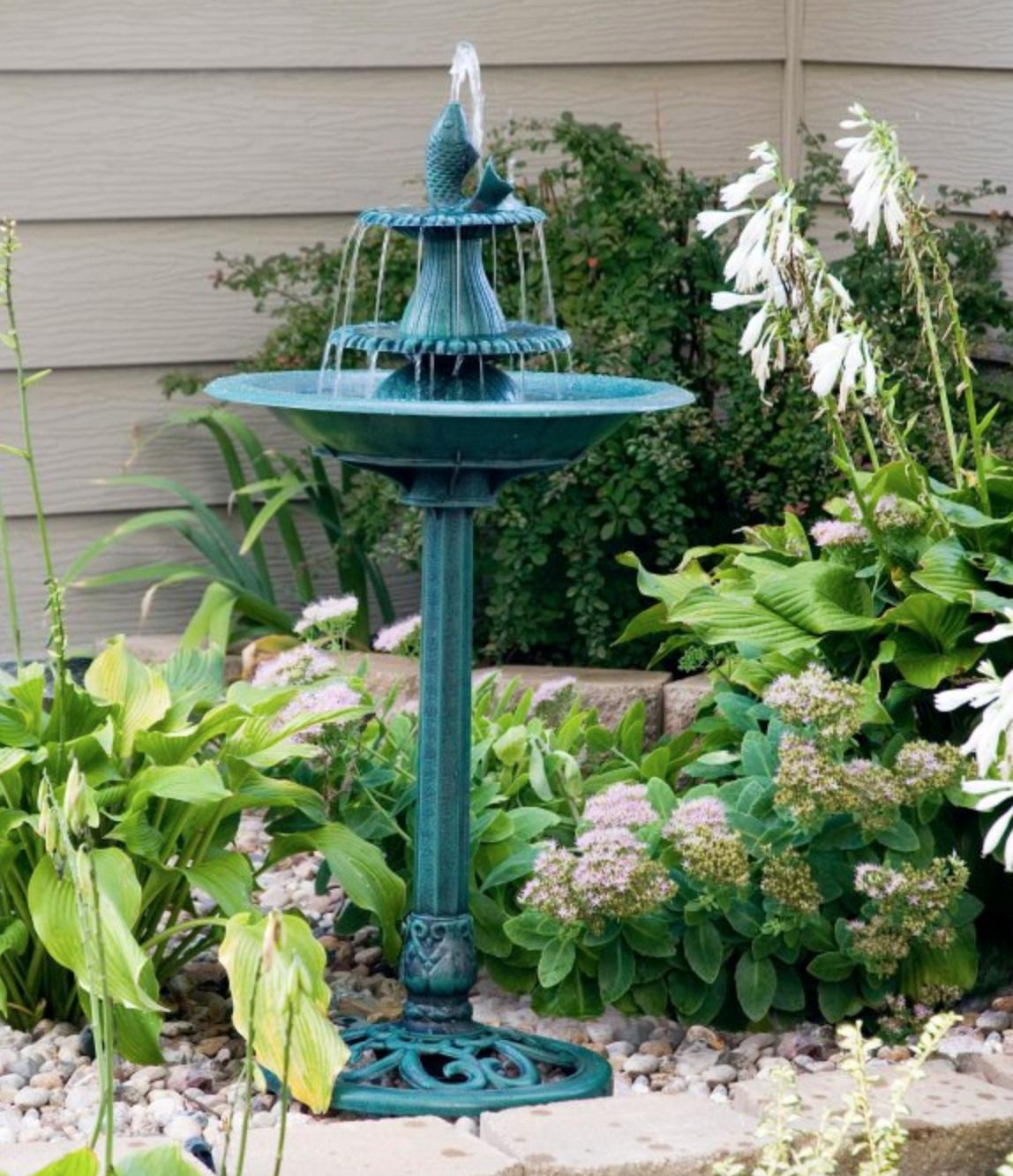 3 tier outdoor water fountain bird bath