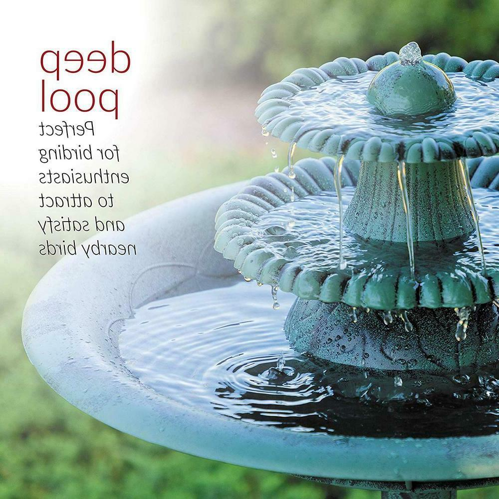 3-Tiered Vintage Fountain and Bird Bath Perfect Green