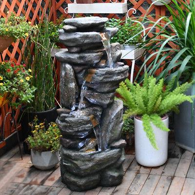 """4-Tier Water Fountain 39-1/2"""" Stacked Rocks w/LED & Pump for"""