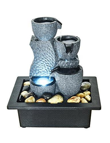 BBabe 4-Tier Desktop Waterfall Fountain with Led Lights 11 Inch Indoor Zen Meditation Tabletop Fountain Tabletop Water Decor