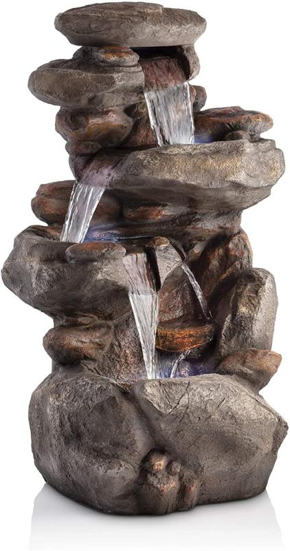 4 tier rock water fountain with led