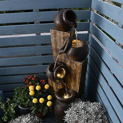 """Outdoor/Indoor Fountain w/LED Lights Pump Waterfall 40-1/2"""""""