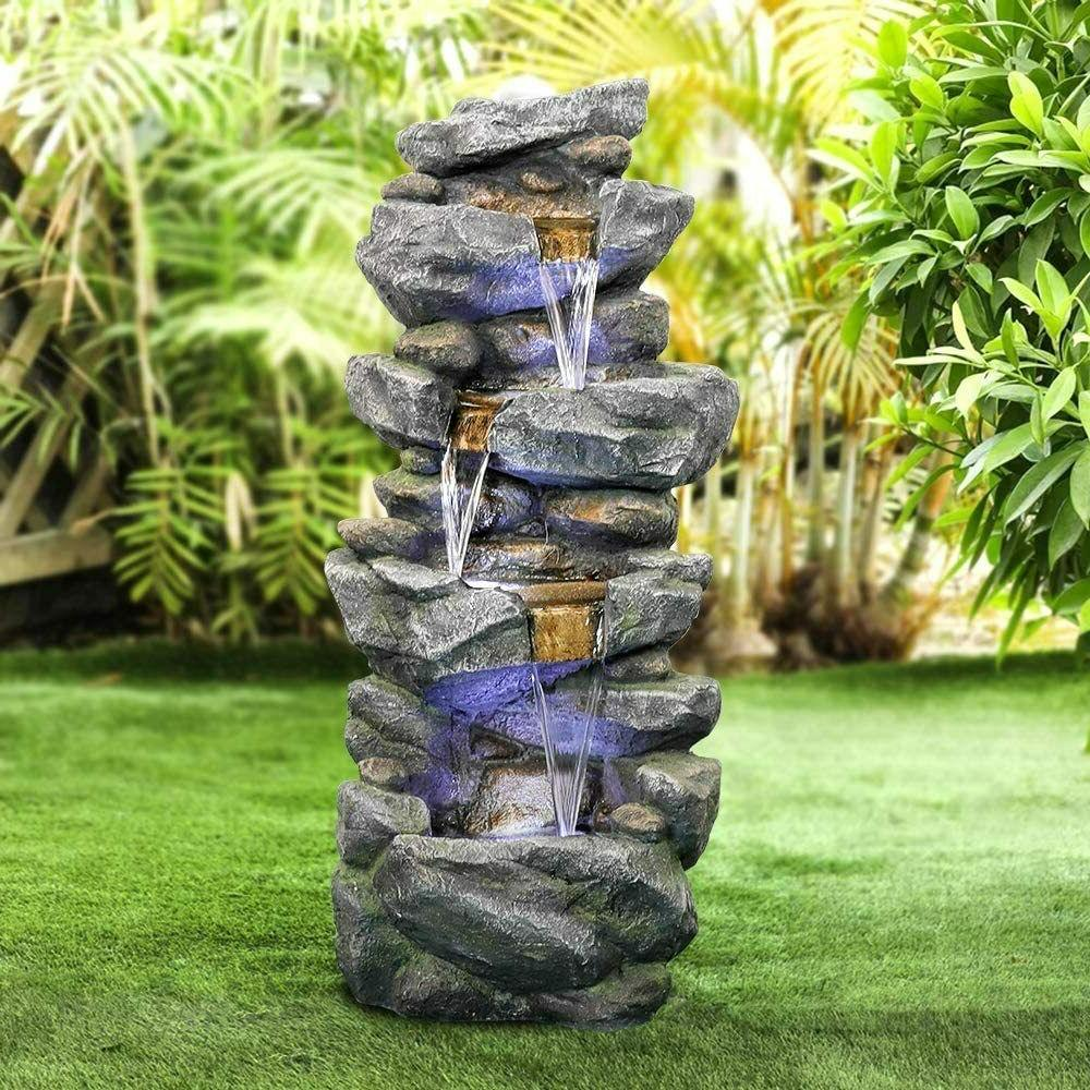 40 inch outdoor water fountain with led