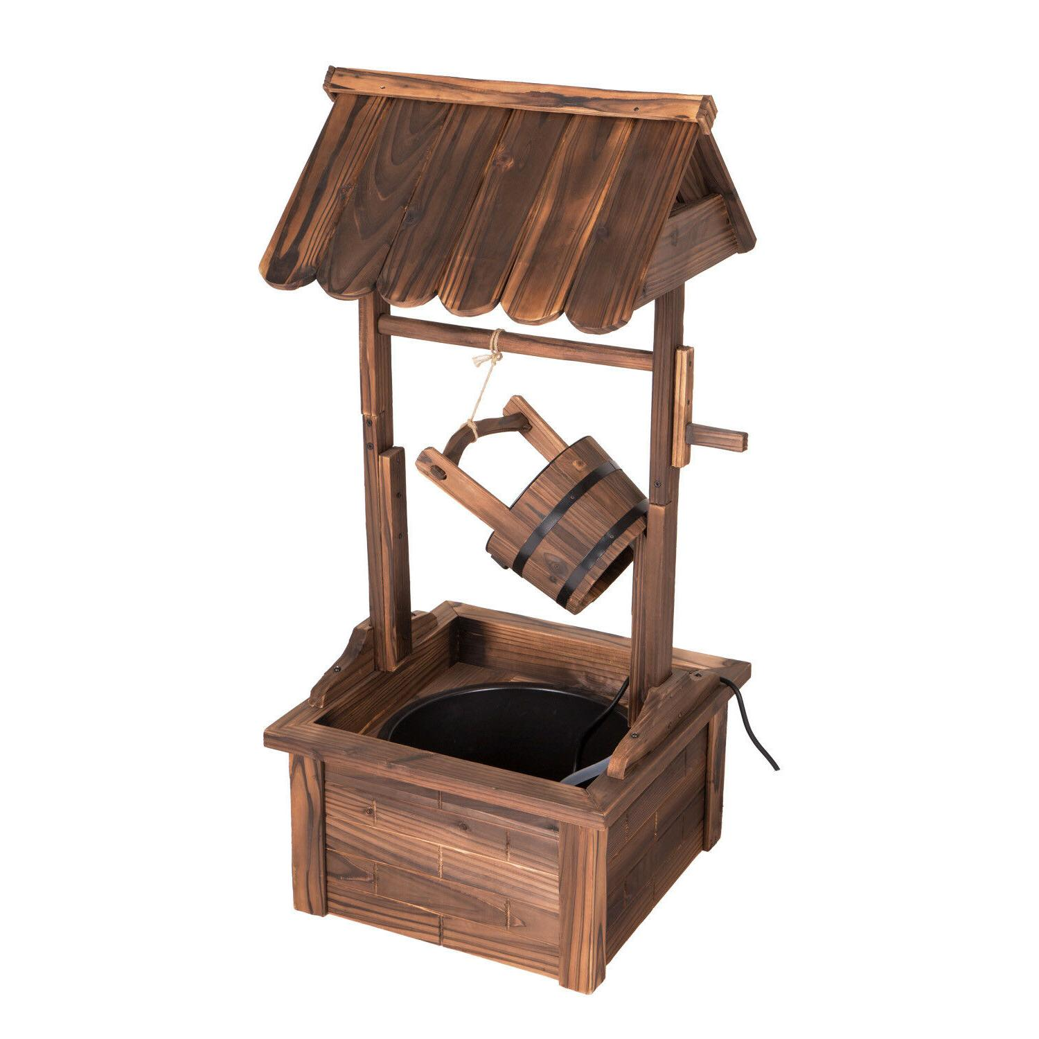 44-Inch Rustic Wishing Well Water with Electric Pump