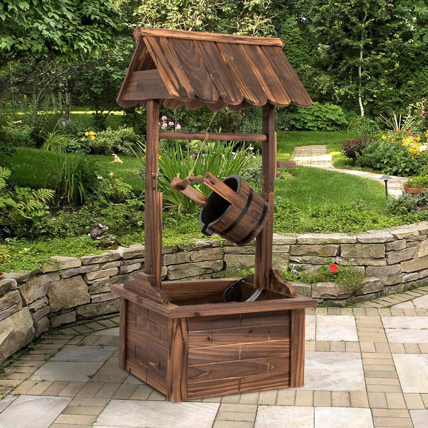 44-Inch Garden Rustic Wishing Well Fountain with