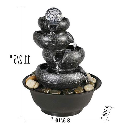 Chillscreamni 11 5-Tier Relaxation with - Flowing Water LED Lighted Electric Office and