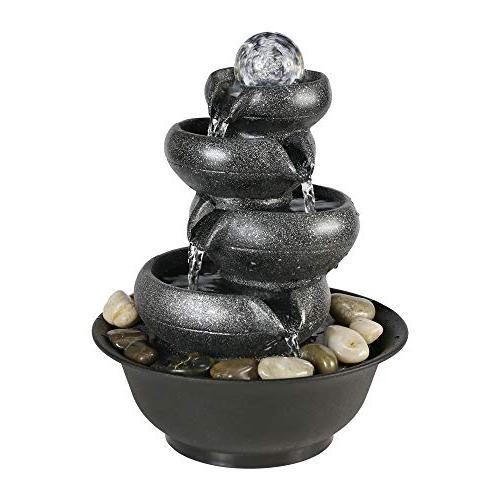 """Chillscreamni 2/5"""" 5-Tier Relaxation Fountain with Flowing Water Blows LED Electric Submersible Pump for Office"""
