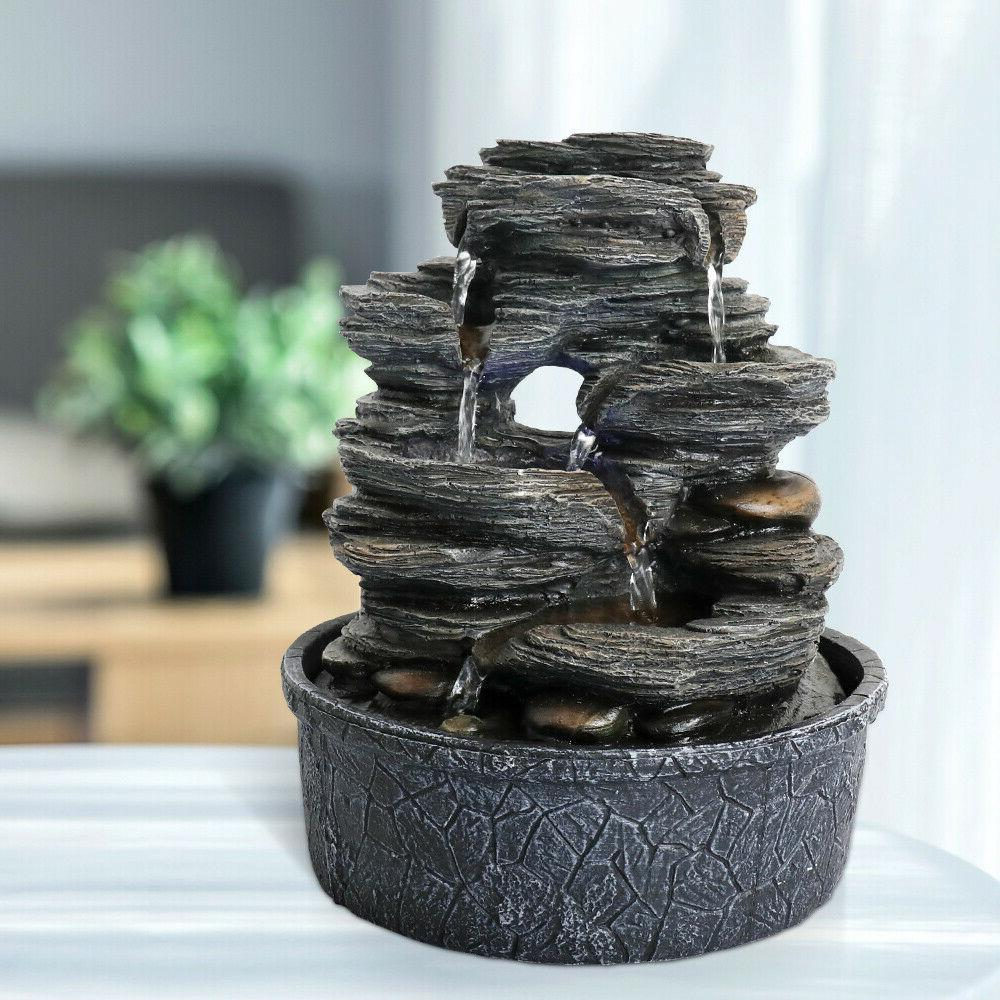 5-Tiered Resin-Rock Tabletop Fountain Designed with LED