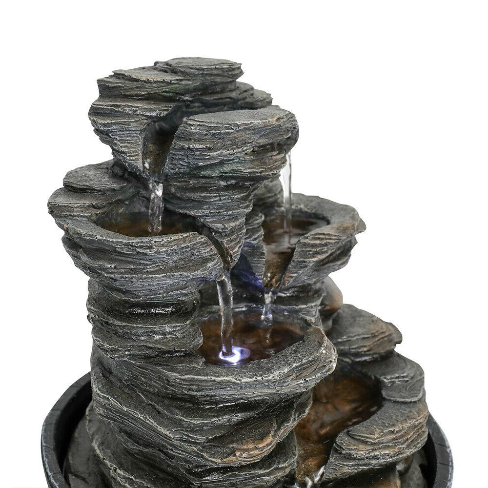 5-Tiered Resin-Rock Relaxation Tabletop Water Fountain with LED