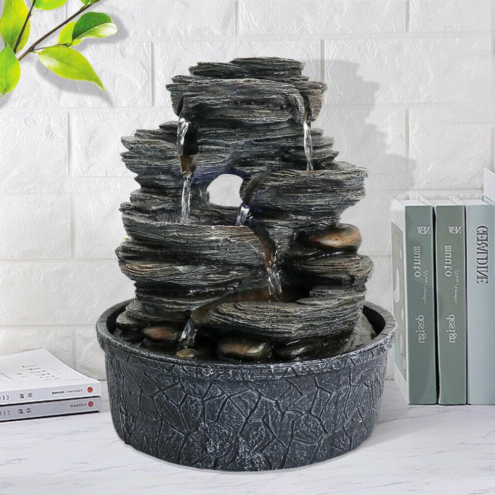 5 tiered resin rock relaxation indoor tabletop