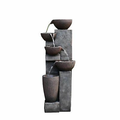 Garden Water 5-Tier Rock Fountain with Lights
