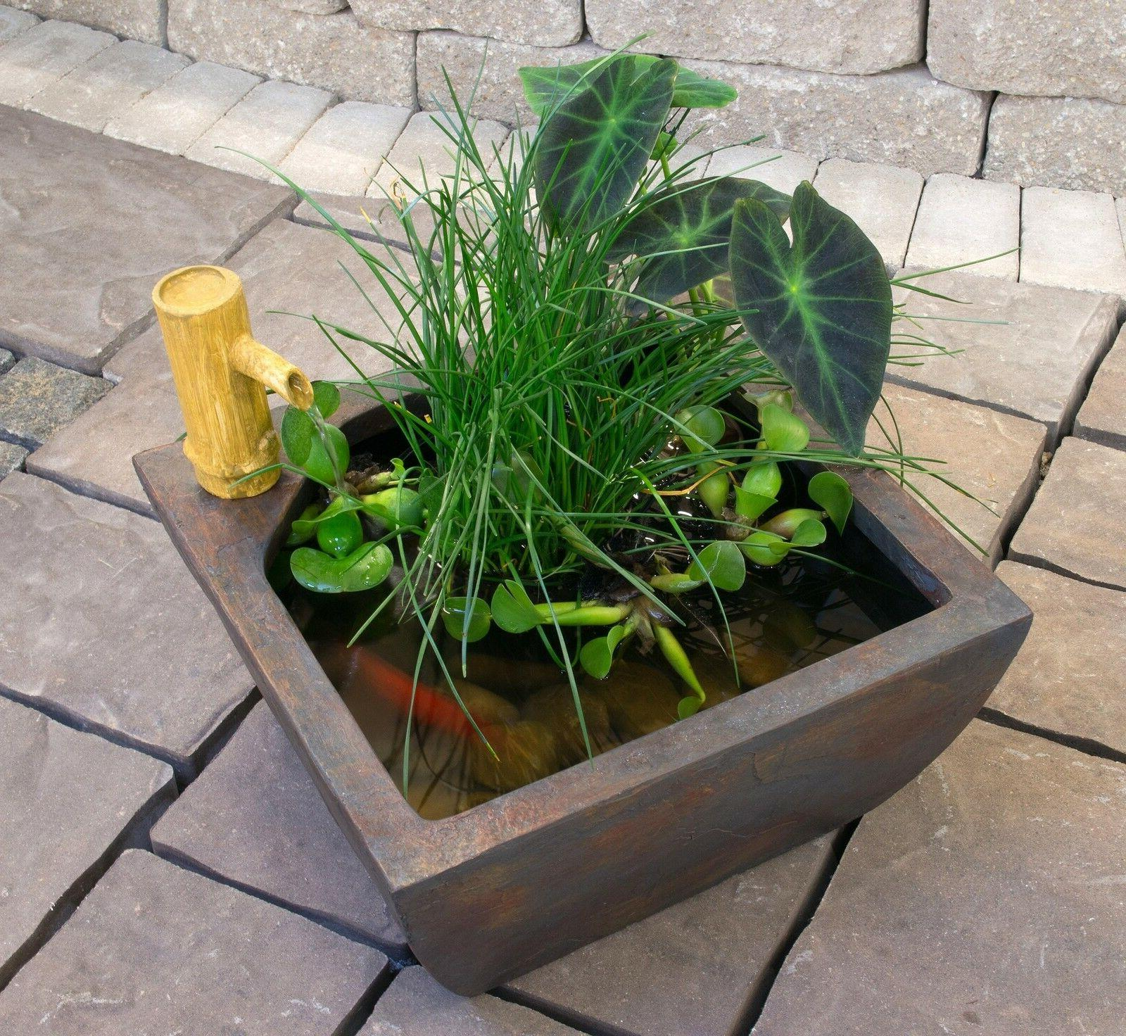 """Aquascape Patio Pond Kit w/Bamboo Fountain 16"""" square-water"""