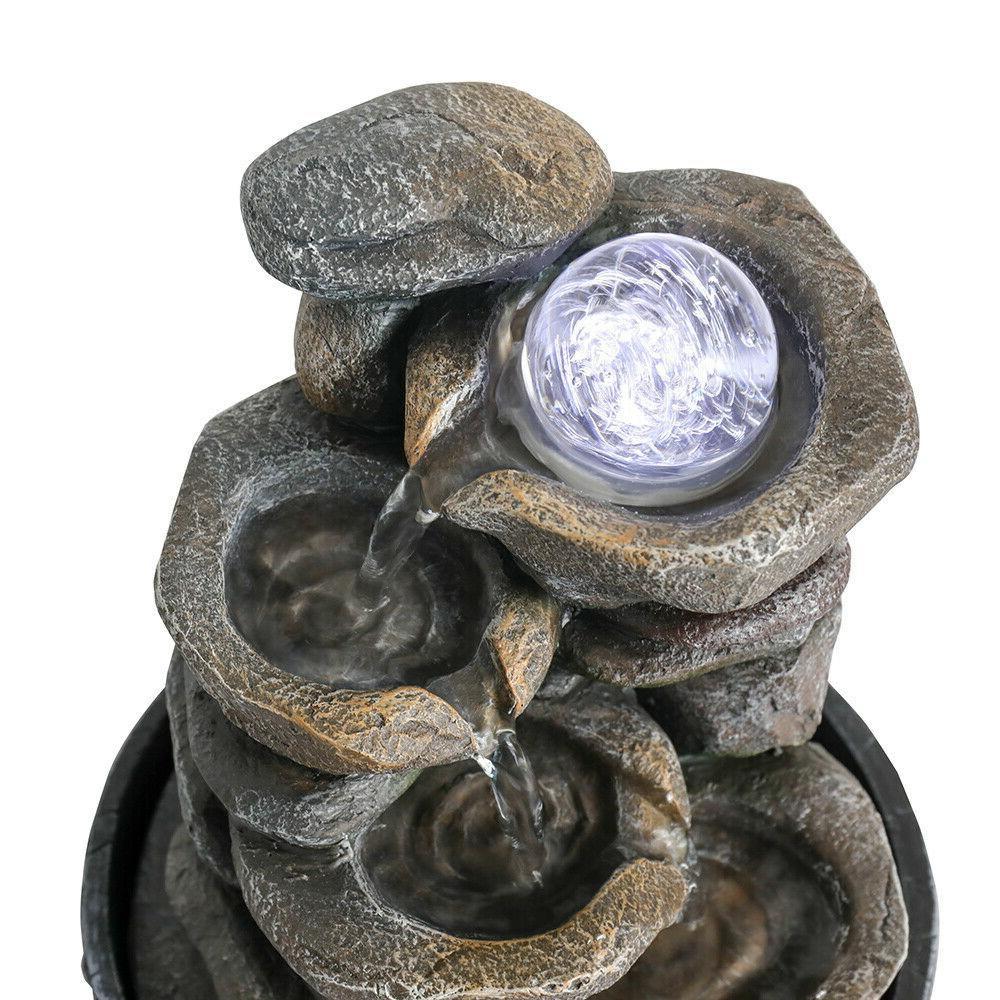 9.8 Rockery Tabletop Fountain with LED&Ball