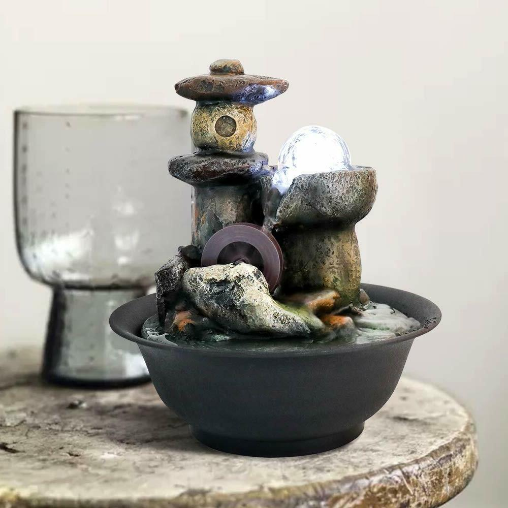 Tabletop Fountain Water Waterfall Zen Relaxation Soothing Sm