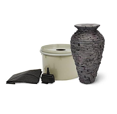 Aquascape Stacked Slate Urn Fountain Kit with Pump and Basin