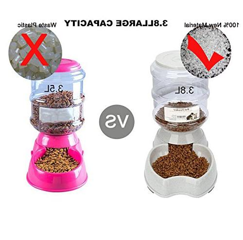 Fountain,Automatic Cat Feeder,Dog Dispenser,1 Gal Automatic Feeder Waterer