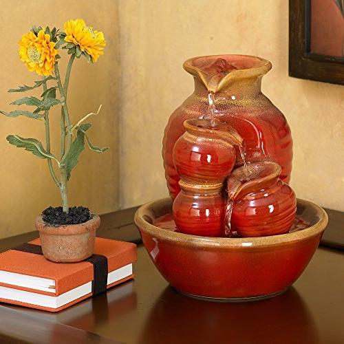 Country Jar Ceramic Red Fountain