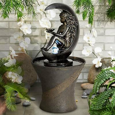"Crescent Moon 34"" High Fountain with LED Light"