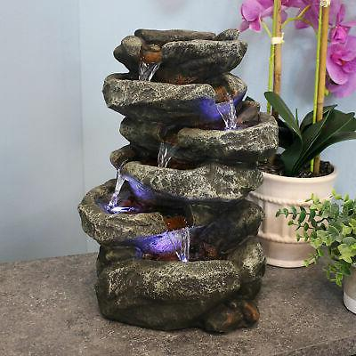 Sunnydaze 6-Tier Stone Falls Tabletop Water Fountain with LE