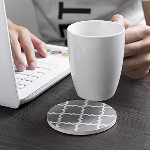 Y Absorbent Coaster Set, Drink Coasters, of 6, Grey White, Pattern