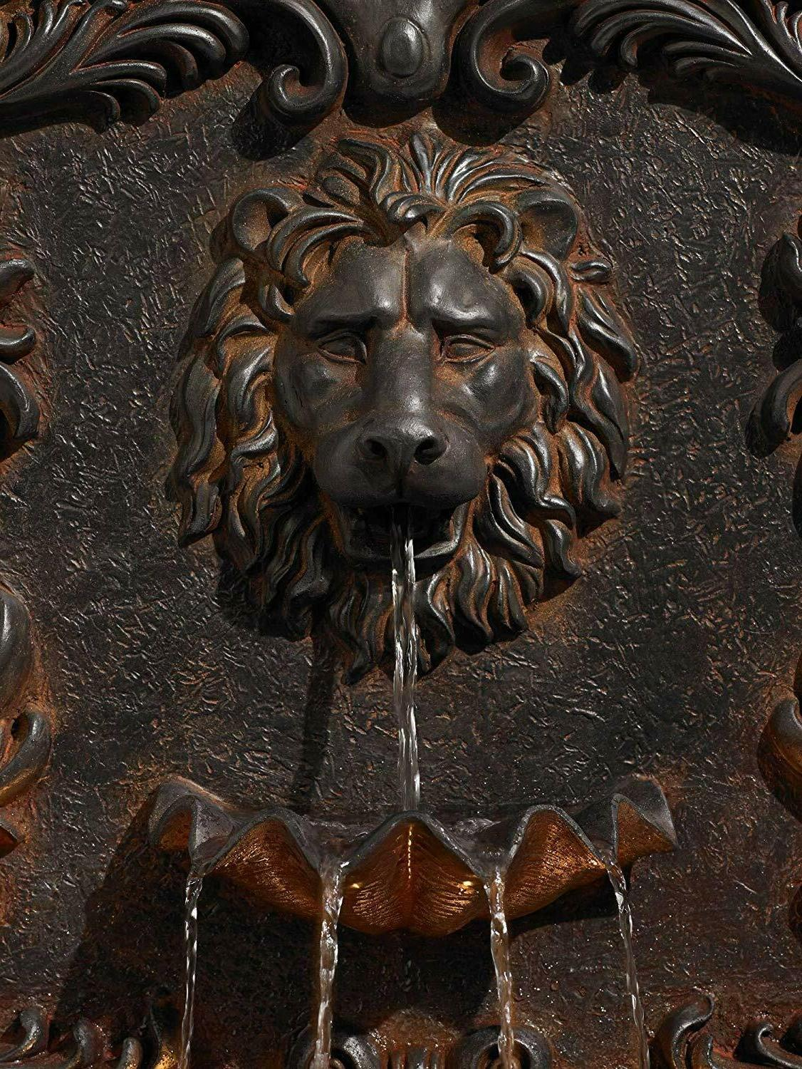 Acanthus Lion Wall Water w/ Light