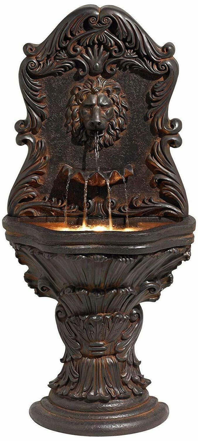 Acanthus Antiqued Wall Water Fountain Light Timberland